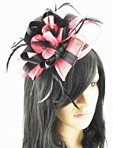 Black and Pink Coral Fascinator on Comb for Races Ascot Ladies Hair Piece