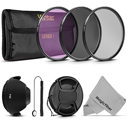 52MM Professional Lens Filter Accessory Kit for Pentax (K-5 K-50 K-30 K-500 K-r K-x) DSLR Cameras - Includes: Vivitar Filter Kit (UV, CPL, FLD) + Carry Pouch + Tulip Lens Hood + Center Pinch Lens Cap + Cap Keeper Leash + MagicFiber Microfiber Lens Cleaning Cloth (Tulip Hood And Battery compare prices)