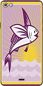 Snoogg Flying Fish At Sea Ocean Square Retro Designer Protective Back Case Cover For Micromax Canvas Silver 5 Q450