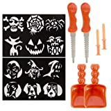 2 Halloween Pumpkin Carving Stencil Kits 12 Patterns Total w/ Tools