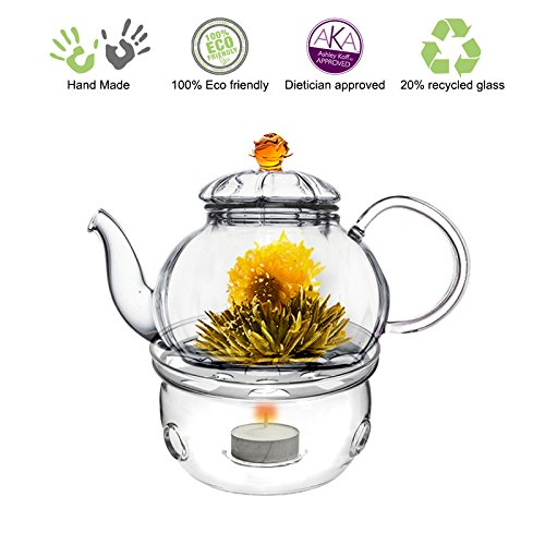 Fantastic Deal! Blooming Tea Glass Teapot Gift Set Amber Juliet, 20oz/590ml with Glass Tea Warmer Co...