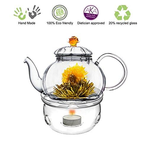 Fantastic Deal! Blooming Tea Glass Teapot Gift Set Amber Juliet, 20oz/590ml with Glass Tea Warmer Co...