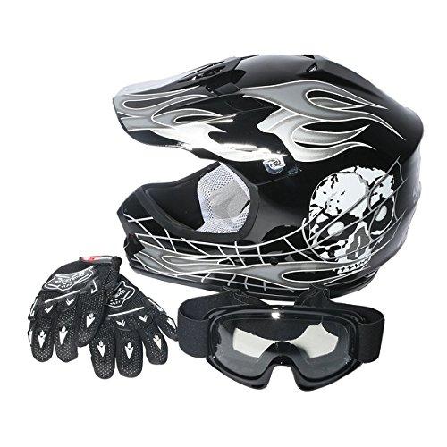 Tengchang Dot Youth & Kids Motocross Offroad Street Helmet Black Skull Motorcycle Helmet+Goggles+gloves M