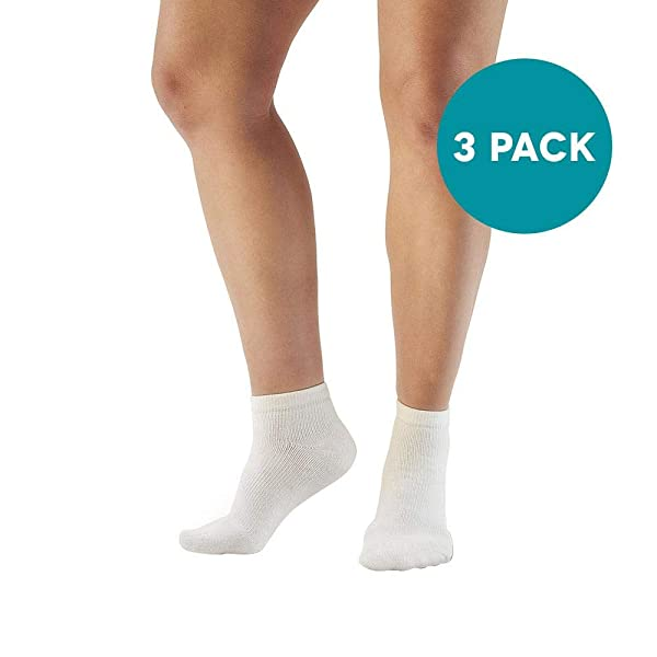 Ames Walker AW Style 140 Coolmax 20 30 mmHg Firm Compression Anklet Socks (3 Pack) White Large Relieves Tired Aching and Swollen Legs Symptoms of varicose Veins Keeps feet Dry and Comfortable (Color: White, Tamaño: Large)