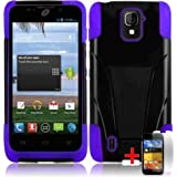 Bloutina ZTE MAJESTY Z796C BLACK PURPLE HYBRID T KICKSTAND COVER HARD GEL CASE + FREE SCREEN PROTECTOR from [ACCESSORY...