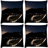 Snoogg Roads At Night Pack Of 4 Digitally Printed Cushion Cover Pillows 16 X 16 Inch