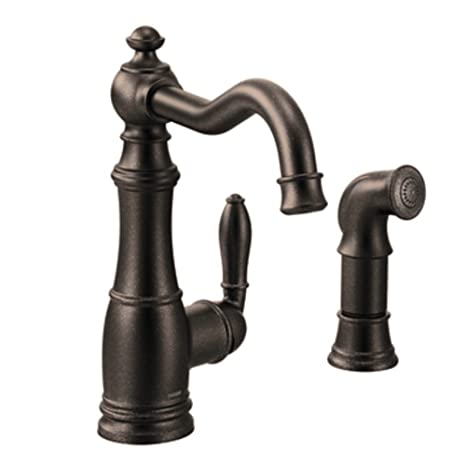 Moen S72101ORB Weymouth One-Handle High Arc Kitchen Faucet, Oil Rubbed Bronze