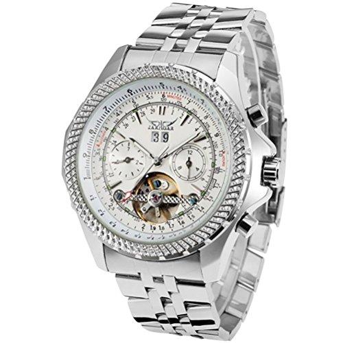 GuTe Pro Elegant Mens Automatic Mechanical Wristwatch Decor Tourbillon Tachymeter White