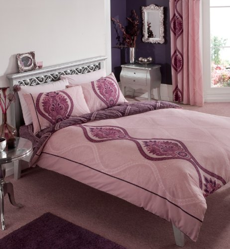 Double Complete Duvet Cover Set in Violet & Pink (1 Duvet Cover, 2 Pillow cases, 1 Fitted Sheet)