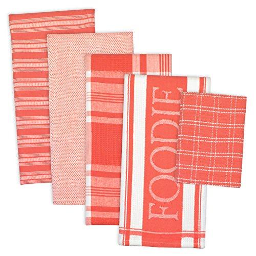 DII 100% Cotton, Machine Washable, Oversized, Basic Everyday Foodie Kitchen Dishtowel 18 x 28 Set of 5 Includes 4 Dishtowels & 1 Dishcloth - Coral