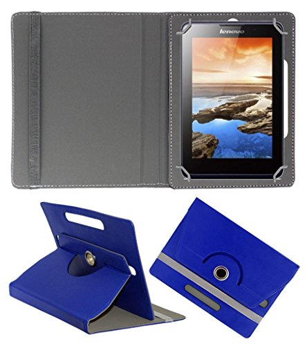 Acm Rotating 360° Leather Flip Case For Lenovo A7-30 2g A3300-Gv Tablet Cover Stand Dark Blue  available at amazon for Rs.149