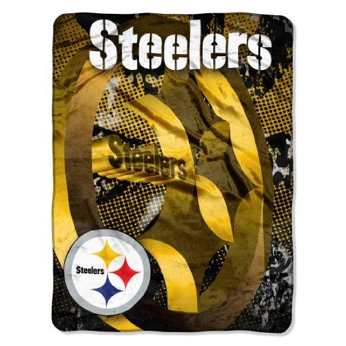 Nfl Pittsburgh Steelers 46-Inch-By-60-Inch Micro-Raschel Blanket, Grunge Design front-488175