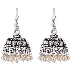 Ganapathy Gems Oxidised Silver Pearl Droplets Jhumki earrings for Women