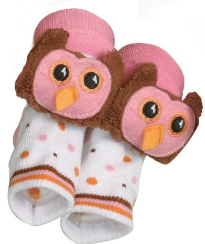 Rattle Socks Owl Pink by Stephan Baby