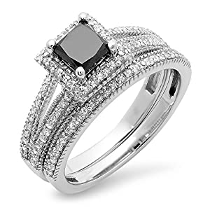 1.35 Carat (ctw) 14K White Gold Black & White Diamond Split Shank Halo Engagement Ring Set (Size 6.5)
