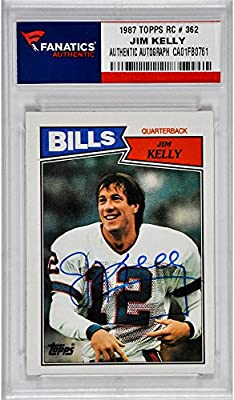 Jim Kelly Buffalo Bills Autographed 1987 Topps Rookie # 362 Card - Fanatics Authentic Certified - Football Slabbed Autographed Rookie Cards