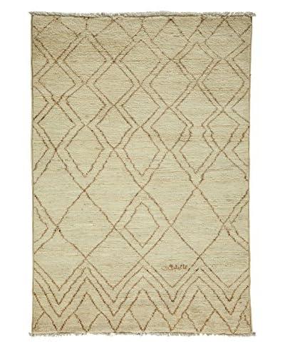 Darya Rugs Moroccan One-of-a-Kind Rug, Ivory, 4' 1 x 5' 9