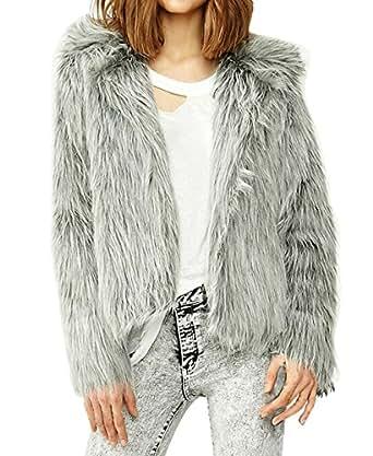 Muke Women's Faux Silver Fox Fur Long Sleeved Overcoat Size Xl Color
