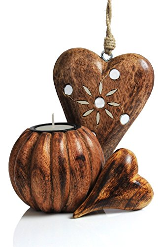 Beautiful Set Of Handmade Wooden Tea Light Holder & Heart Shaped Wall Hanging With A Matching Ornament