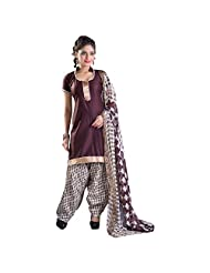 Brown Cotton Patiala Unstitched Suit With White And Brown Dupatta