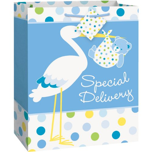 Baby Boy Stork Gift Bag, Large, Blue And White
