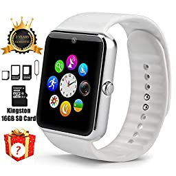Smart Watch GT08 Bluetooth with 16GB SD Card and SIM Card Slot for Android Samsung S5 S6 Note 4 5 HTC Sony LG and iPhone 5 5S 6 6 Plus Smartphones (White)