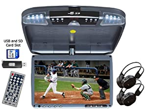 9-inch Wide Screen Overhead Flip Down DVD Player. Incl. 2 Wireless Headphones. Features USB and SD Card Inputs, IR Transmission and Wireless FM Transmitter