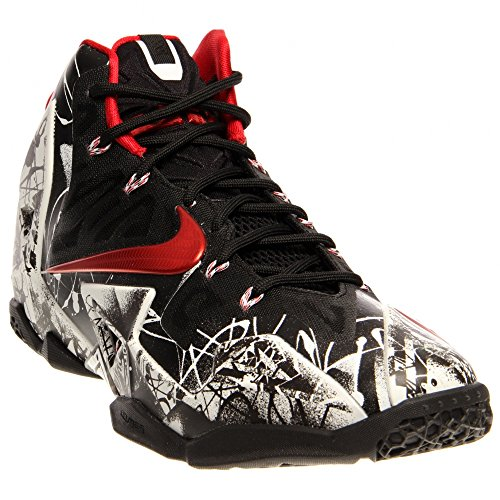 Nike Lebron XI Men's Basketball Shoes White/University Red-Black 616175-100 (11 D(M) US)