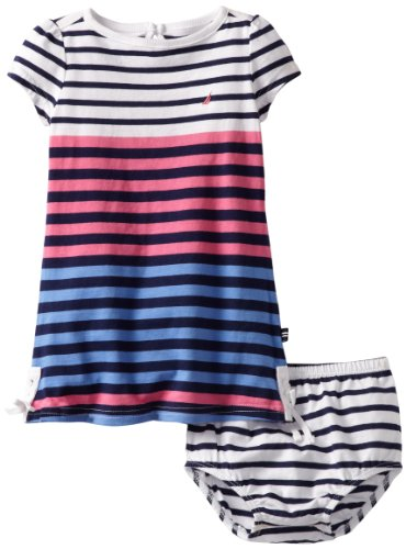 Nautica Baby-girls Infant Engineer Stripe Dress, Pink, 24 Months