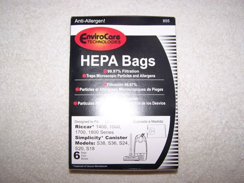 Riccar 1400, 1500, 1700, 1800 Series Simplicity Canister Models S38, S36, S24, S20 and S18 HEPA Vacuum Bags 6 pk. by EnviroCare by Riccar Simplicity (Simplicity Series 6 Vacuum Parts compare prices)