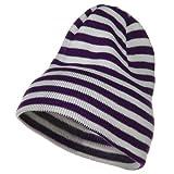 Trendy Striped Beanie - Purple White