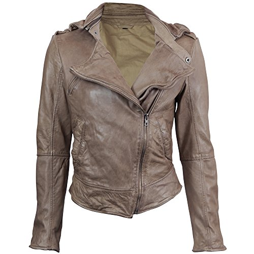 VIPARO Taupe Asymmetrical Biker lambskin Leather Jacket - Kendall