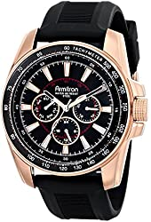 Armitron Men's 20/4958BKRGBK Stainless Steel Watch with Black Silicone Band