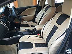 For Maruti Celerio - Car Seat covers - PU Leatherite / Rexin - Beige and Black