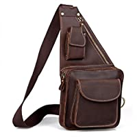 Unisex Casual Genuine Leather Crossbody Sling Backpack Chest Pack Shoulder Bag