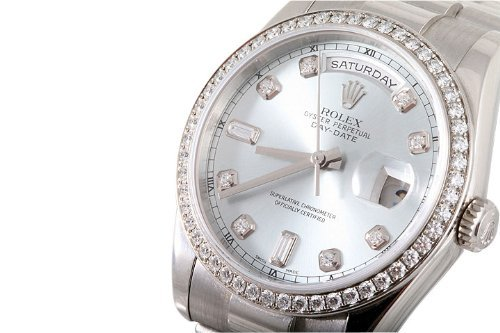 Rolex Mens Platinum President Silver Diamond Dial