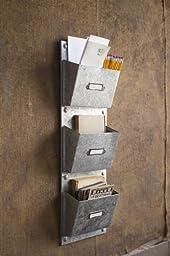 Three Pocket Vertical Galvanized Organizer