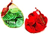 Fort Knox Milk Chocolate Half Dollar Coins: One 1 lb Bag Each of Green and Red in a Gift Box
