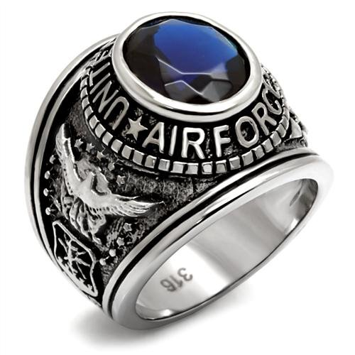 Stainless Steel Blue Oval Stone Us Air Force Military Men'S Ring