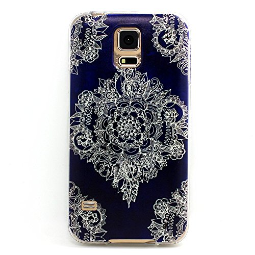 Samsung Galaxy S5 , BAISRKE Clear TPU Silicone Gel Back Cover Skin Soft Case for Samsung Galaxy S5 i9600 (Not for S5 Mini) Big White Flower On Dark Blue Back (Samsung Galaxy Mini Girl Cases compare prices)