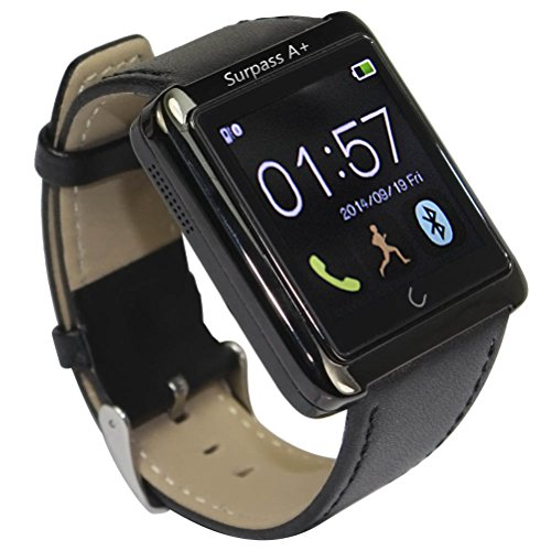 Surpass A+ Smart Watches Bluetooth Watch for Iphone 4 4s 5 5s 5c 6 Plus Samsung Galaxy S5 S4 S3 Note 3 2 Htc One M8 M7 Sony Google Lg (Black)