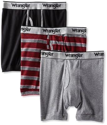 Wrangler Men's 3 Pack Boxer Briefs, Charcoal, Small
