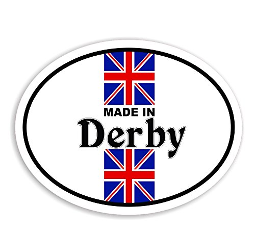 Made In Derby - Union Jack Flag Cane Auto Adesivi / British Car Bike Van Camper Decal Bumper Sticker