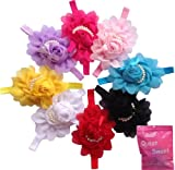 Qs 8 Pieces Babys Headbands Girls Chiffon Head Band Hair Flower (8 Pack)