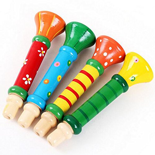 Kidcia-Children-Wooden-Musical-Instrument-Trumpet-Hooter-Bugle-Toy-Random-Color