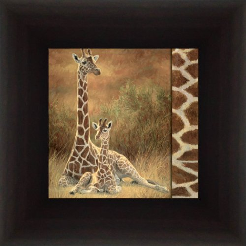 Mother And Son By Lucie Bilodeau Baby Giraffe 8.5X8.5 Framed Art Print Picture front-720895