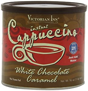 Victorian Inn Instant Cappuccino, White Chocolate Caramel, 16-Ounce Canisters (Pack of 6) by Victorian Inn