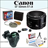 Canon EF 50mm f/1.8 II Camera Lens With Opteka Holster Case, Opteka HD² 3 Piece (UV, PL, FL) Filter Kit And More For Canon EOS Digital SLR