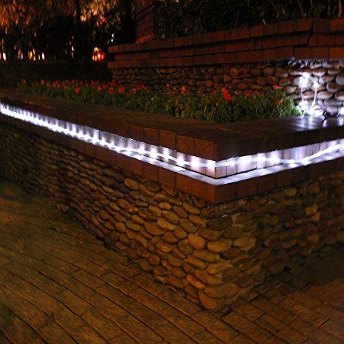 julyfire white 50 led 16 5 foot solar powered rope string garden light