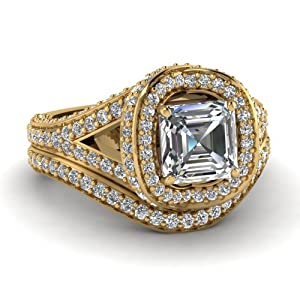 Fascinating Diamonds 2.70 Ct Asscher Cut Diamond Knotted Split Halo Wedding Rings Set 14K GIA